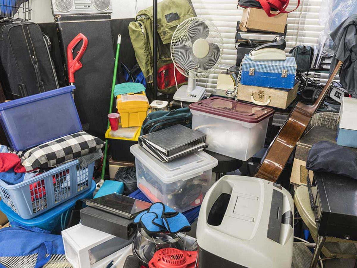 Piles of junk in need of hoarding clean out services